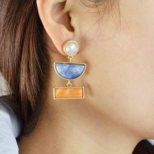 Jewelry - Statement earrings - Geometric blue, gold, pearl